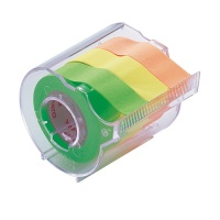 Memoc Roll Tape (Self-Stick Paper Tape) Fluorescent color 15mm width with dispenser (contained three rolls)