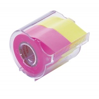 Memoc Roll Tape (Self-Stick Paper Tape) Fluorescent color  25mm width with dispenser (contained two rolls)
