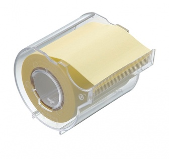 Memoc Roll Tape (Self-Stick Paper Tape) Recycled paper 50mm width with dispenser  (contained one roll)