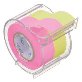 Memoc Roll Tape EXTRA STICKY (Self-Stick Paper Tape) Fluorescent color with dispenser/cutter